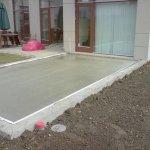 beton støbning af fundament til terrændæk