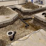beton gulv skåret op og nedsat rør i DTU hørsholm
