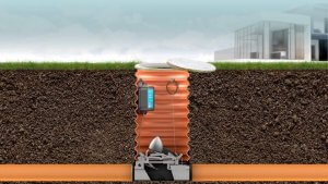 Installeret højvandslukke mod kælderoversvømmelse i brønd og er en skybrudssikring