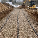 Jordarbejde udgravning til kloak nedsivningsanlæg