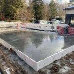 Støbning af fundament til bygning